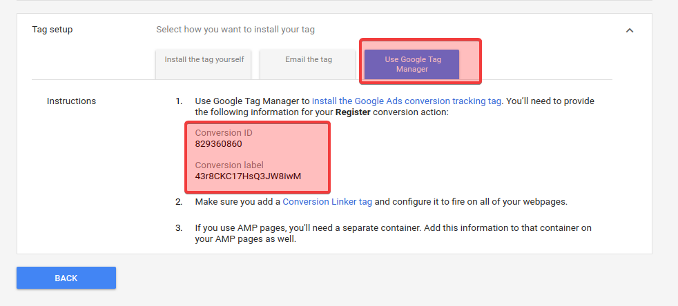 Conversion id dan conversion label diambil dari Dashboard Google Ads